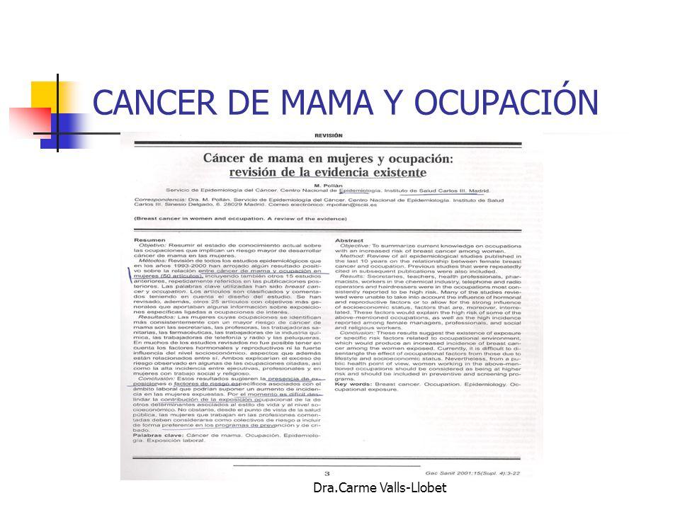 CANCER DE MAMA Y OCUPACIÓN