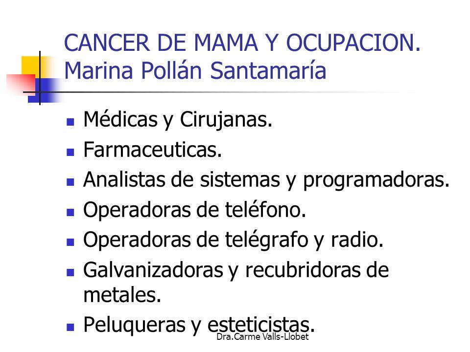 CANCER DE MAMA Y OCUPACION. Marina Pollán Santamaría
