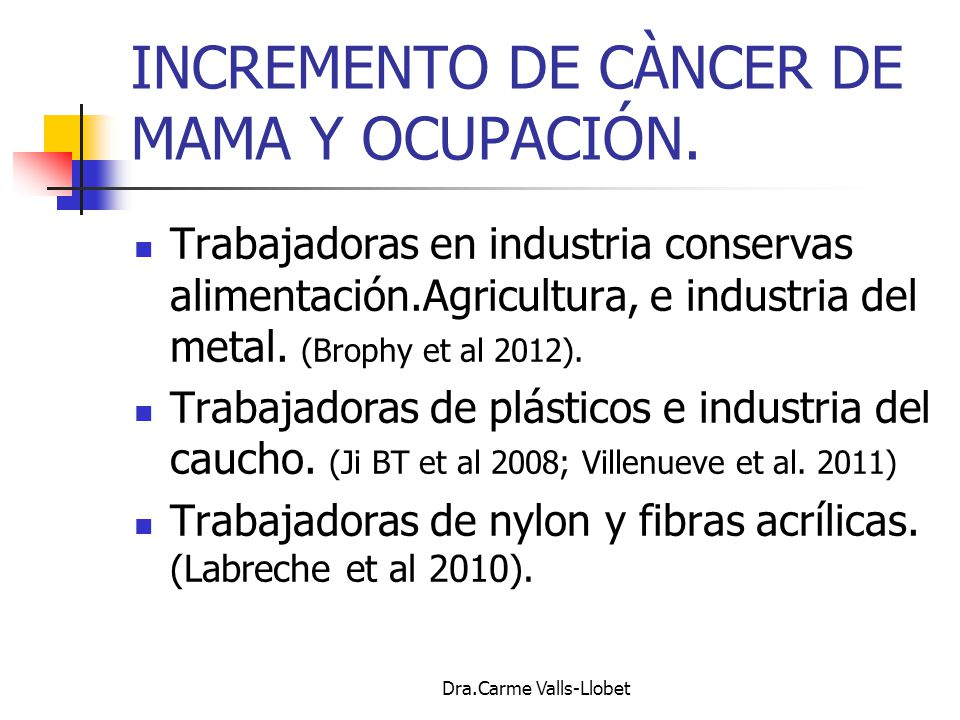 INCREMENTO DE CÀNCER DE MAMA Y OCUPACIÓN.