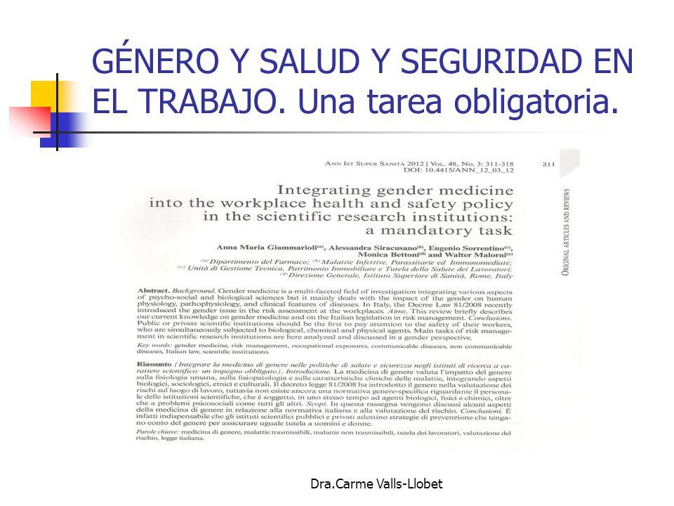 GÉNERO Y SALUD Y SEGURIDAD EN EL TRABAJO. Una tarea obligatoria.