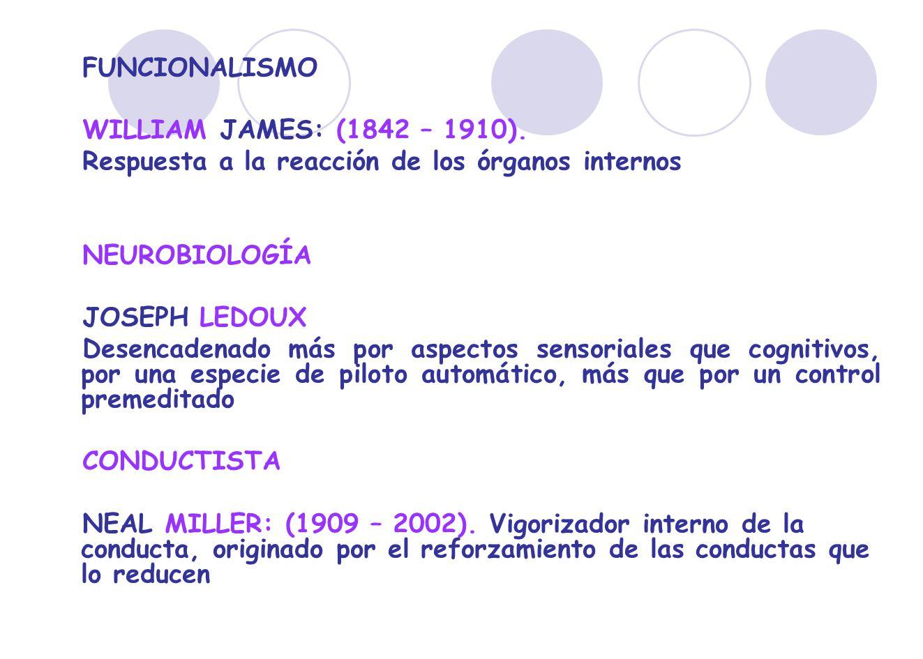 FUNCIONALISMO WILLIAM JAMES: (1842 – 1910). Respuesta a la reacción de los órganos internos. NEUROBIOLOGÍA.