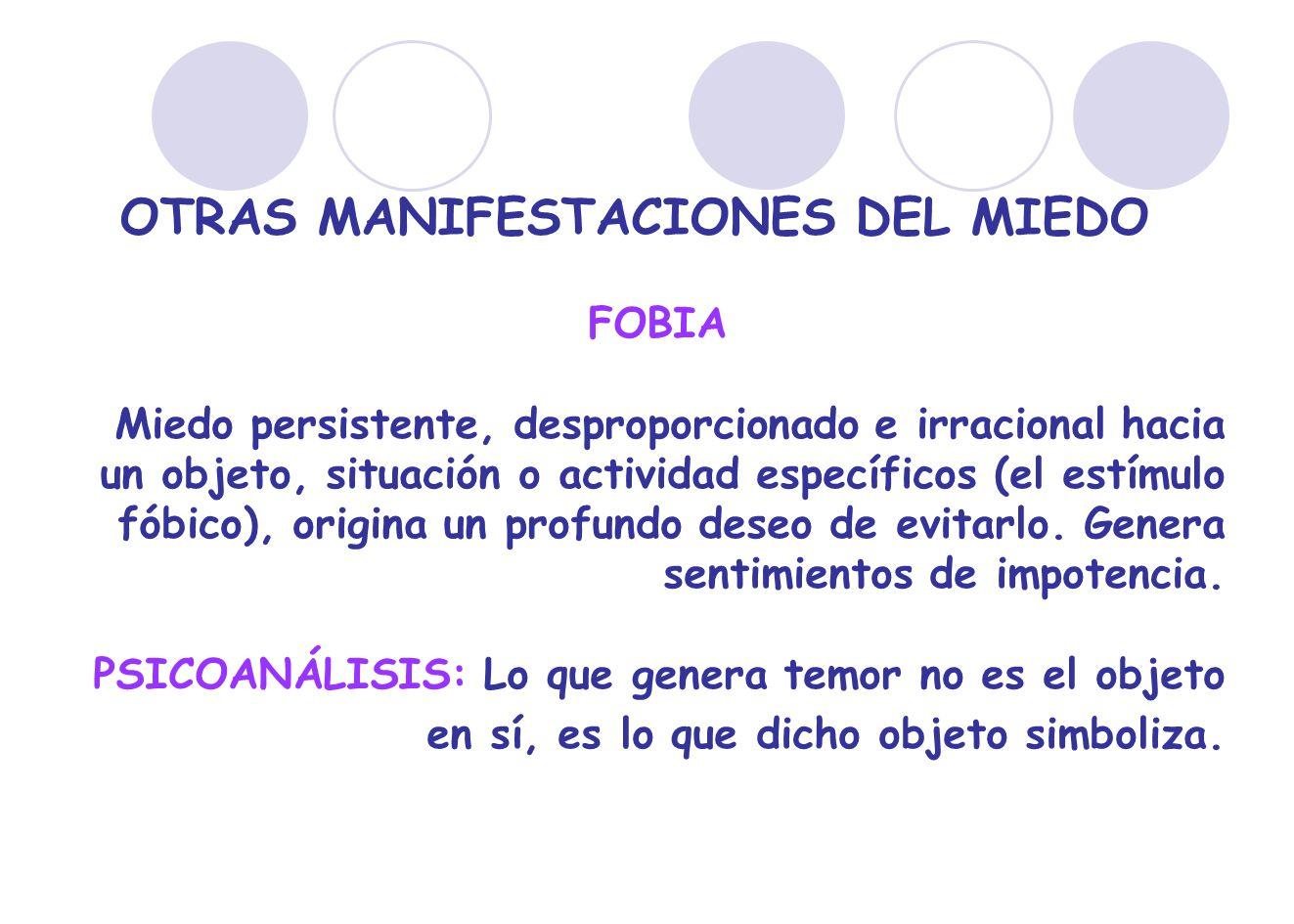 OTRAS MANIFESTACIONES DEL MIEDO