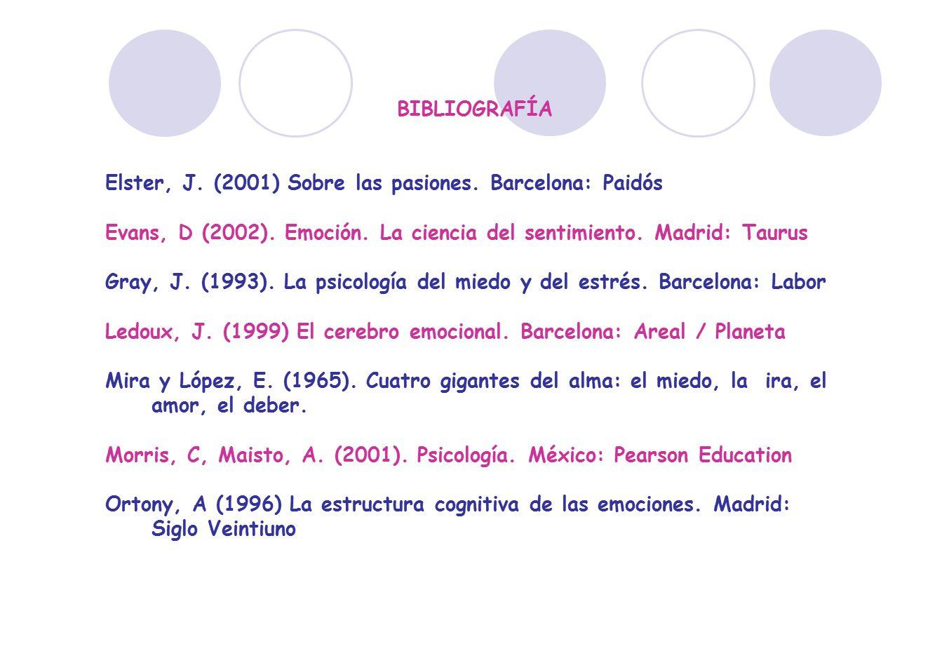 BIBLIOGRAFÍA Elster, J. (2001) Sobre las pasiones. Barcelona: Paidós. Evans, D (2002). Emoción. La ciencia del sentimiento. Madrid: Taurus.