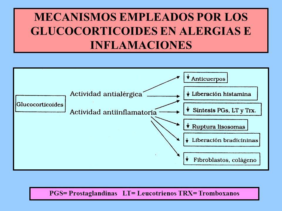 PGS= Prostaglandinas LT= Leucotrienos TRX= Tromboxanos