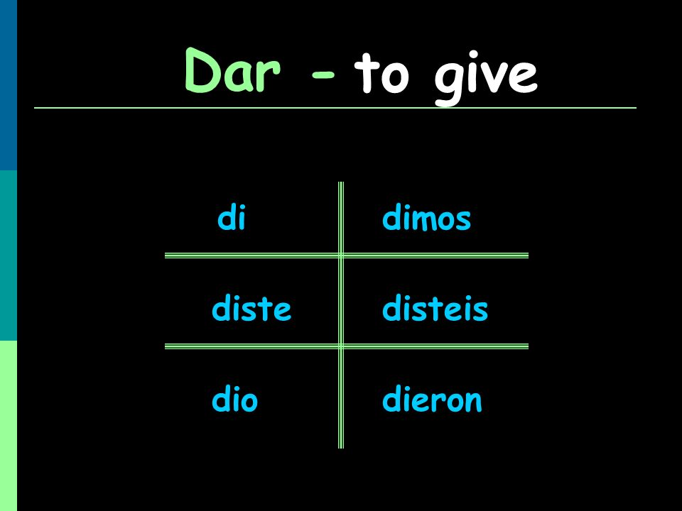Dar - to give di dimos diste disteis dio dieron