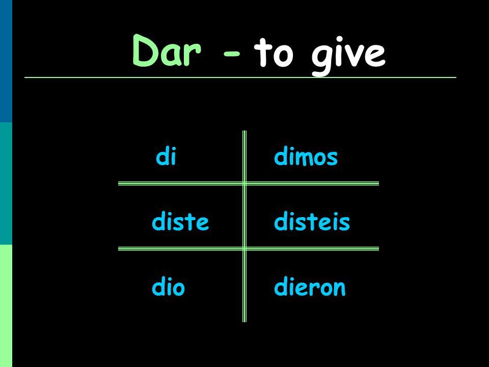 Dar - to give di dimos diste disteis dio dieron