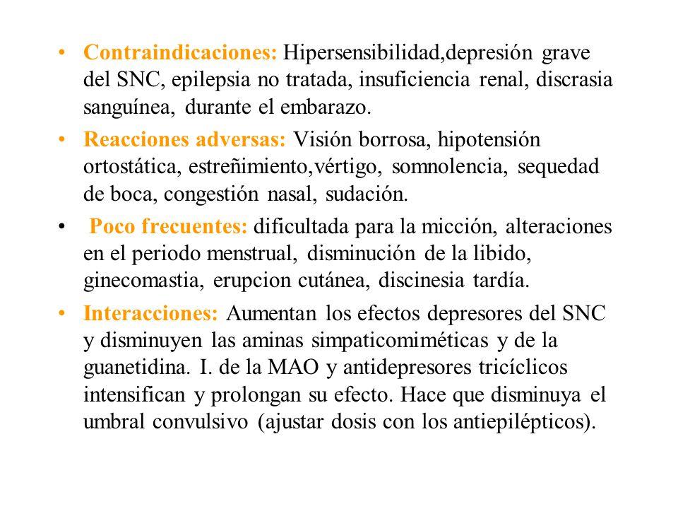 Contraindicaciones: Hipersensibilidad,depresión grave del SNC, epilepsia no tratada, insuficiencia renal, discrasia sanguínea, durante el embarazo.