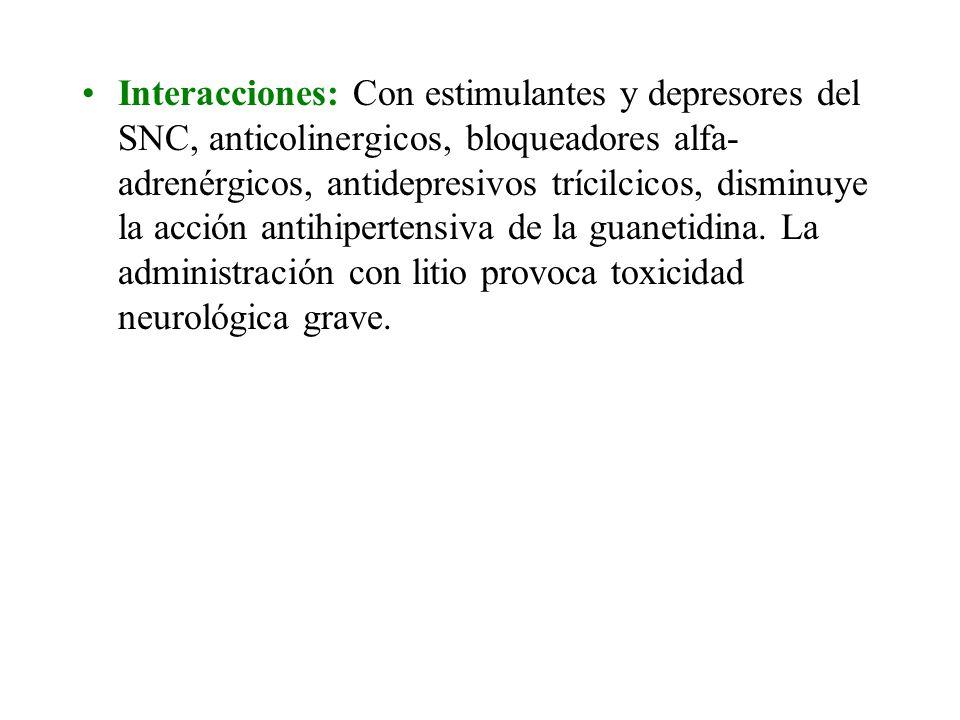 Interacciones: Con estimulantes y depresores del SNC, anticolinergicos, bloqueadores alfa- adrenérgicos, antidepresivos trícilcicos, disminuye la acción antihipertensiva de la guanetidina.