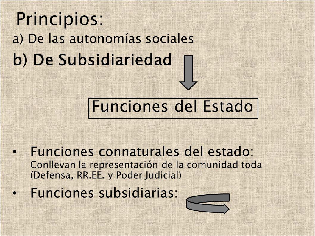 Principios: b) De Subsidiariedad Funciones del Estado