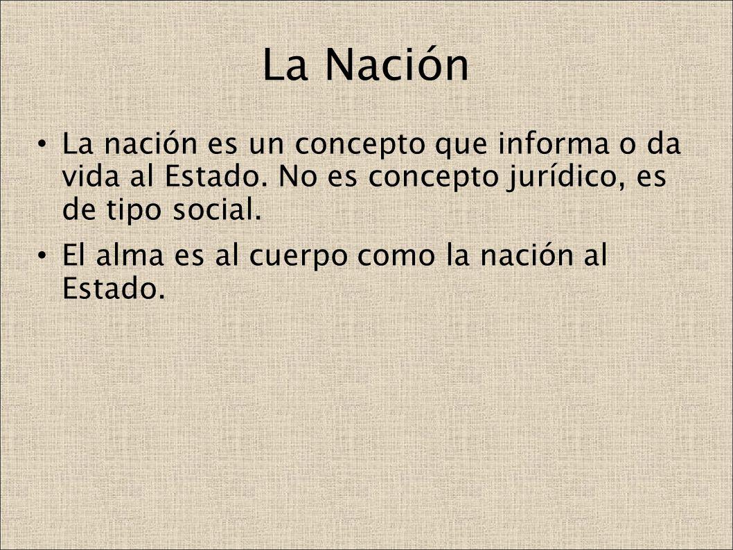 La Nación La nación es un concepto que informa o da vida al Estado. No es concepto jurídico, es de tipo social.