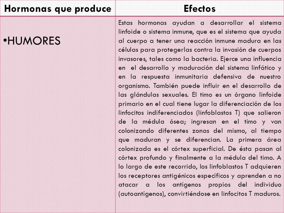 HUMORES Hormonas que produce Efectos