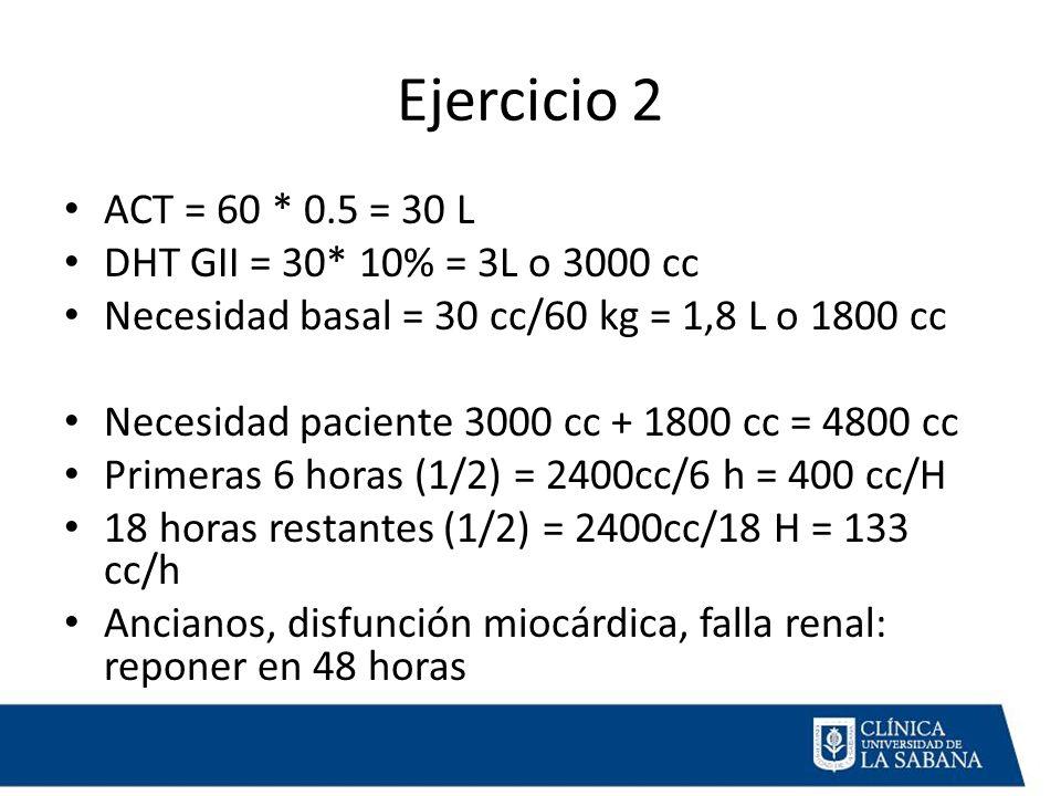 Ejercicio 2 ACT = 60 * 0.5 = 30 L DHT GII = 30* 10% = 3L o 3000 cc