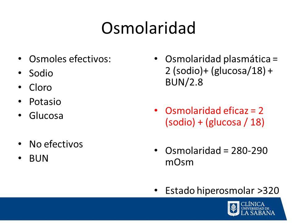 Osmolaridad Osmoles efectivos: Sodio Cloro Potasio Glucosa
