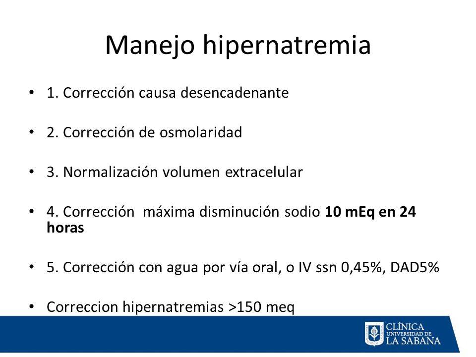 Manejo hipernatremia 1. Corrección causa desencadenante