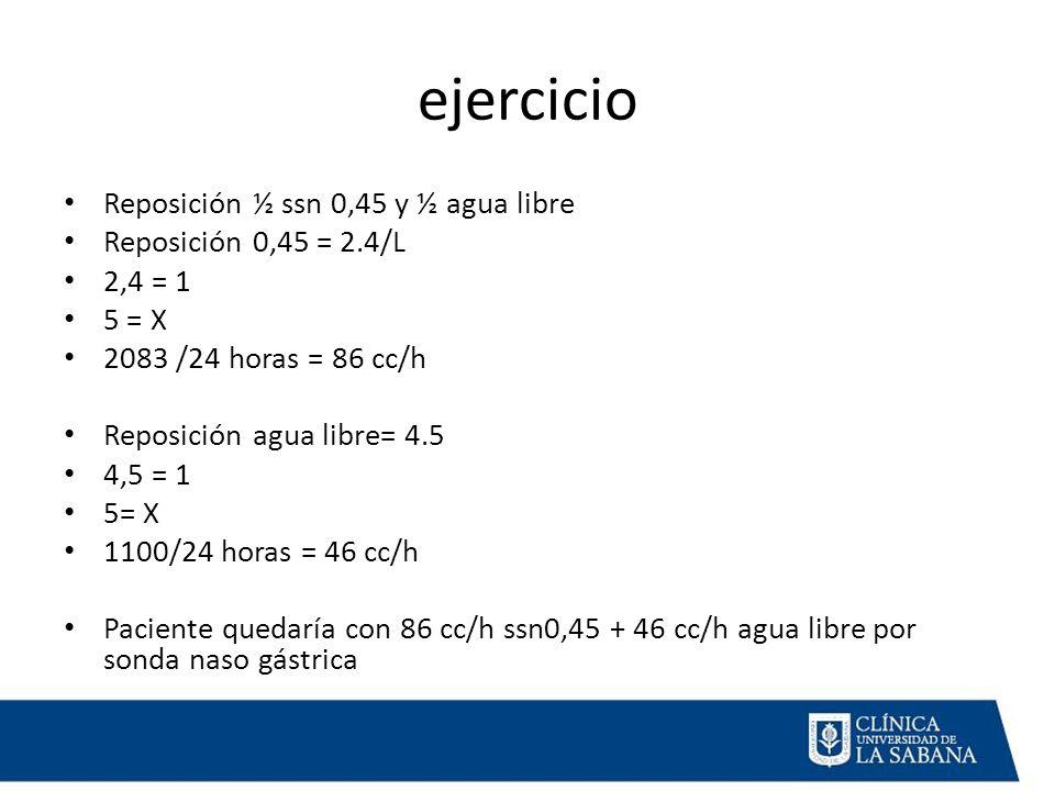 ejercicio Reposición ½ ssn 0,45 y ½ agua libre Reposición 0,45 = 2.4/L