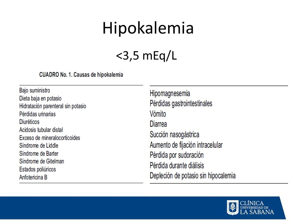 Hipokalemia <3,5 mEq/L