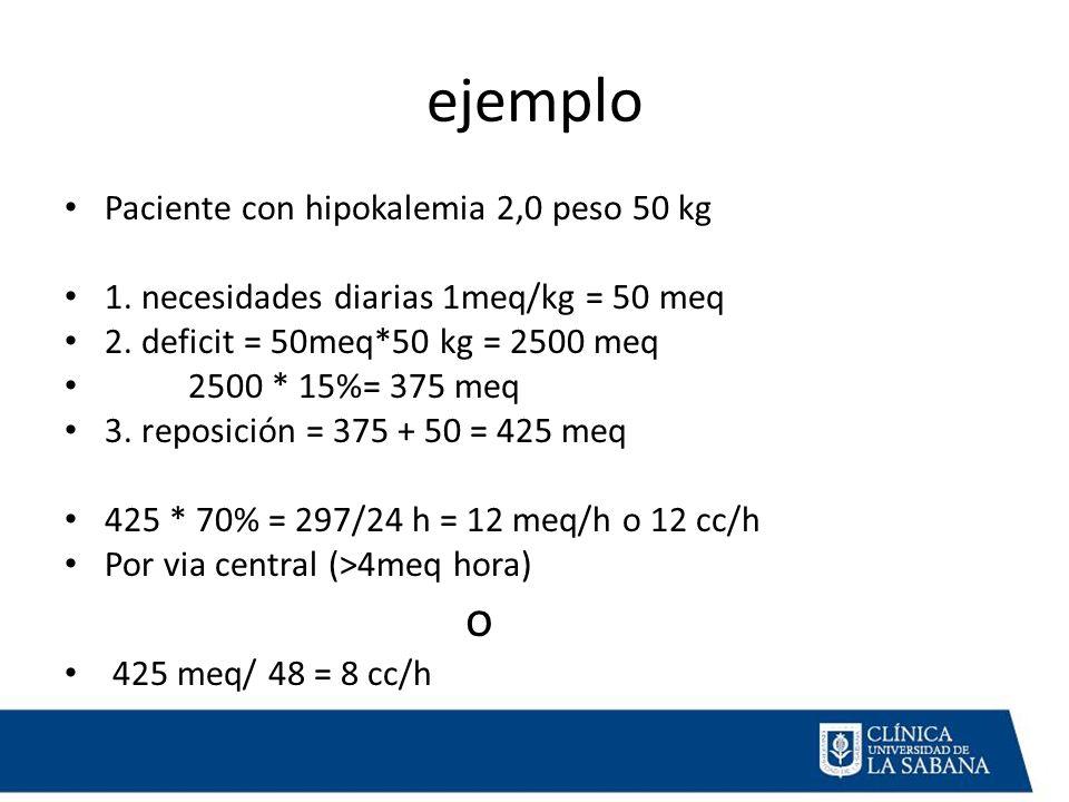 ejemplo Paciente con hipokalemia 2,0 peso 50 kg