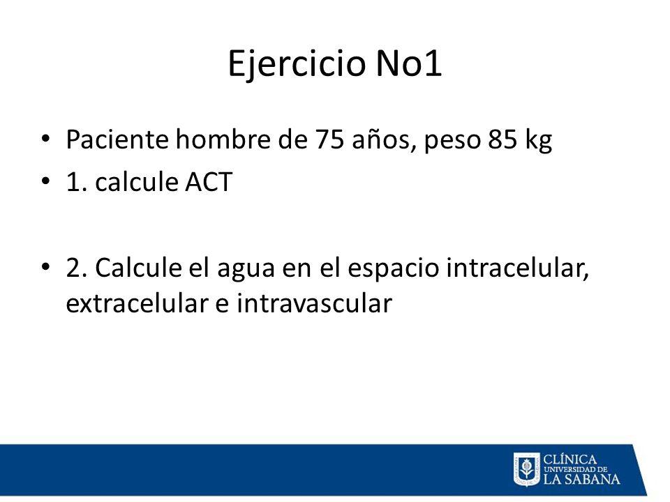 Ejercicio No1 Paciente hombre de 75 años, peso 85 kg 1. calcule ACT