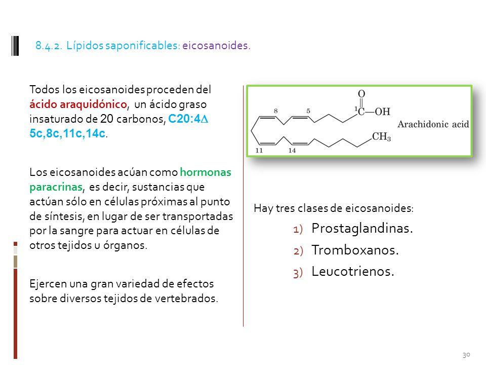 Prostaglandinas. Tromboxanos. Leucotrienos.