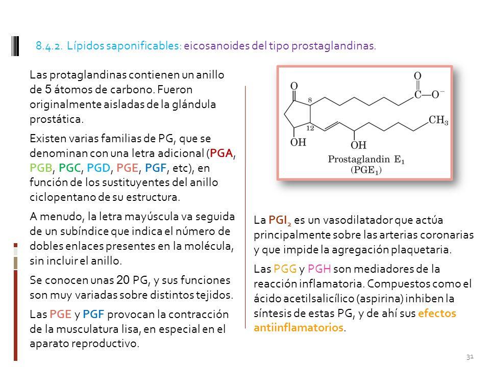 8.4.2. Lípidos saponificables: eicosanoides del tipo prostaglandinas.