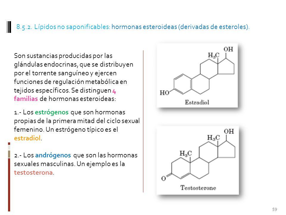 8.5.2. Lípidos no saponificables: hormonas esteroideas (derivadas de esteroles).