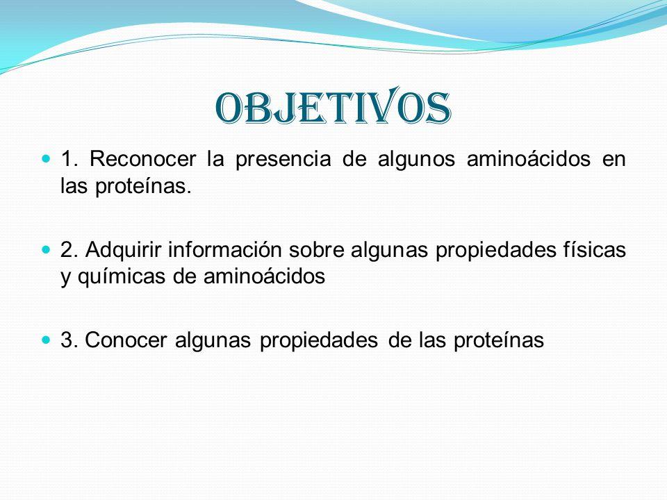 OBJETIVOS 1. Reconocer la presencia de algunos aminoácidos en las proteínas.
