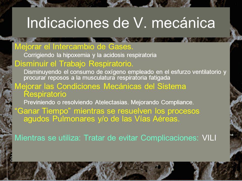 Indicaciones de V. mecánica