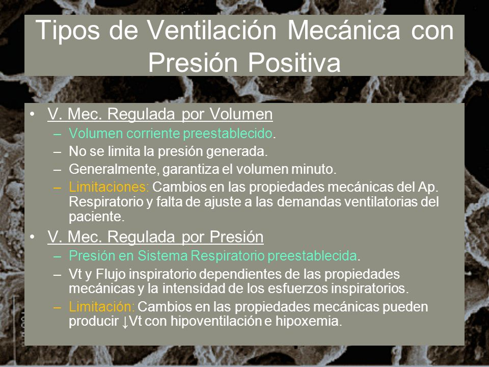 Tipos de Ventilación Mecánica con Presión Positiva