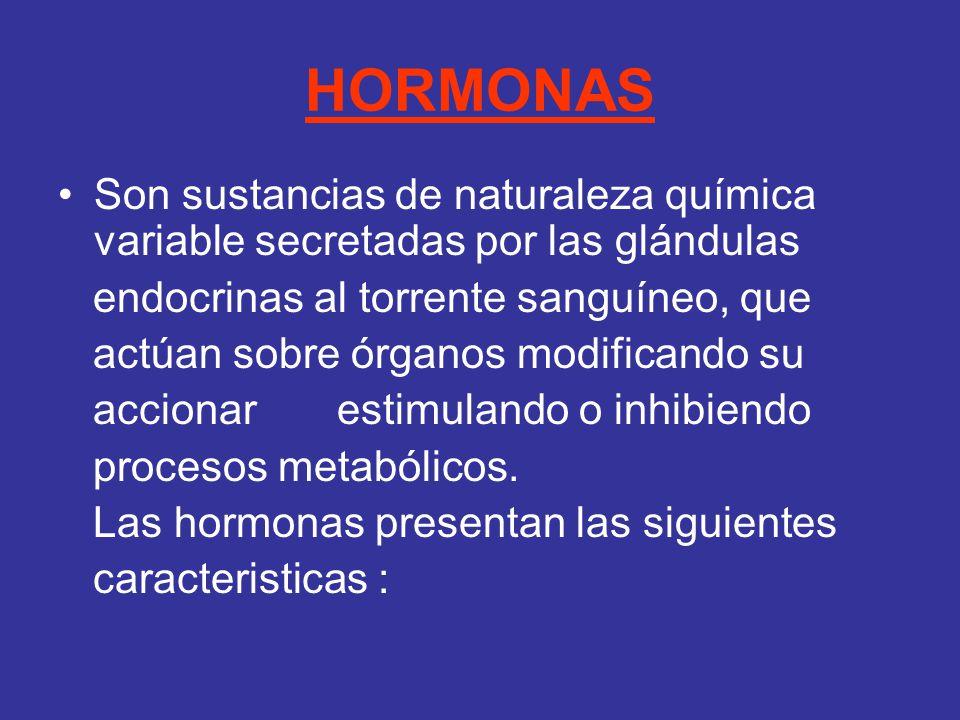 HORMONAS Son sustancias de naturaleza química variable secretadas por las glándulas. endocrinas al torrente sanguíneo, que.