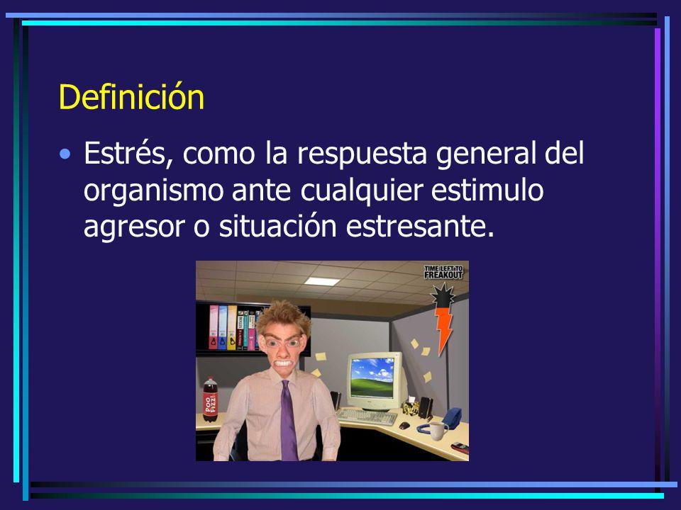 Definición Estrés, como la respuesta general del organismo ante cualquier estimulo agresor o situación estresante.