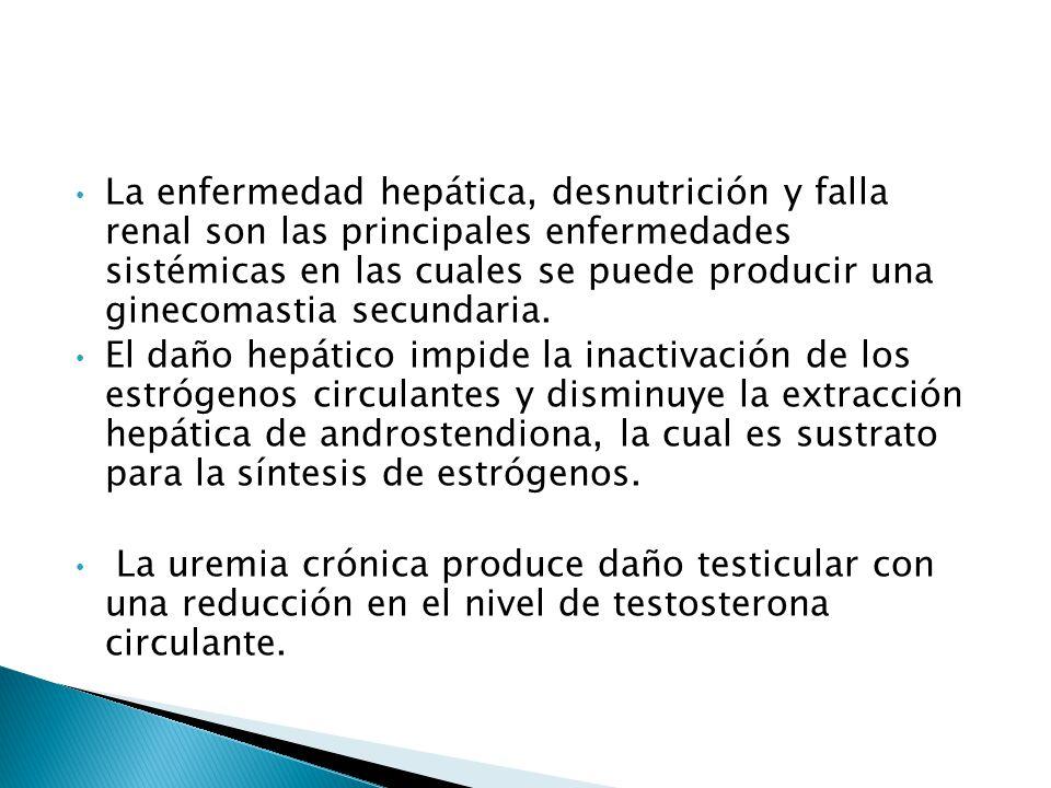 La enfermedad hepática, desnutrición y falla renal son las principales enfermedades sistémicas en las cuales se puede producir una ginecomastia secundaria.