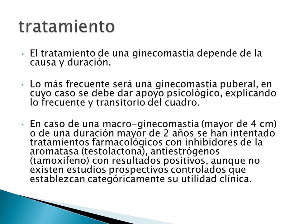 tratamiento El tratamiento de una ginecomastia depende de la causa y duración.