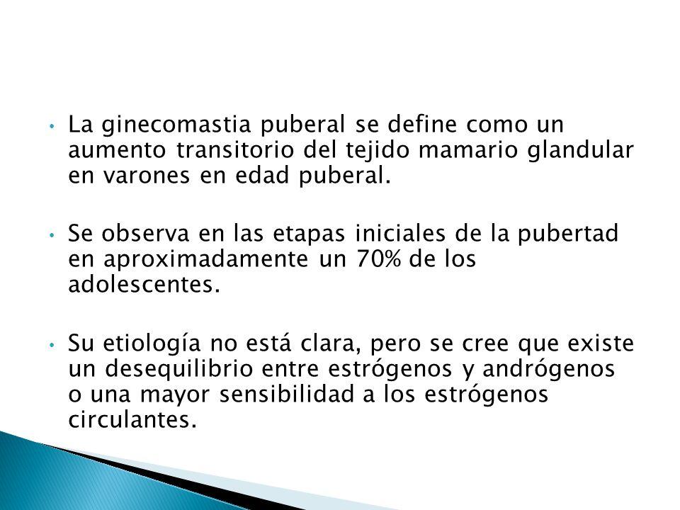 La ginecomastia puberal se define como un aumento transitorio del tejido mamario glandular en varones en edad puberal.