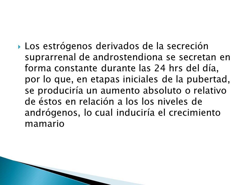 Los estrógenos derivados de la secreción suprarrenal de androstendiona se secretan en forma constante durante las 24 hrs del día, por lo que, en etapas iniciales de la pubertad, se produciría un aumento absoluto o relativo de éstos en relación a los los niveles de andrógenos, lo cual induciría el crecimiento mamario