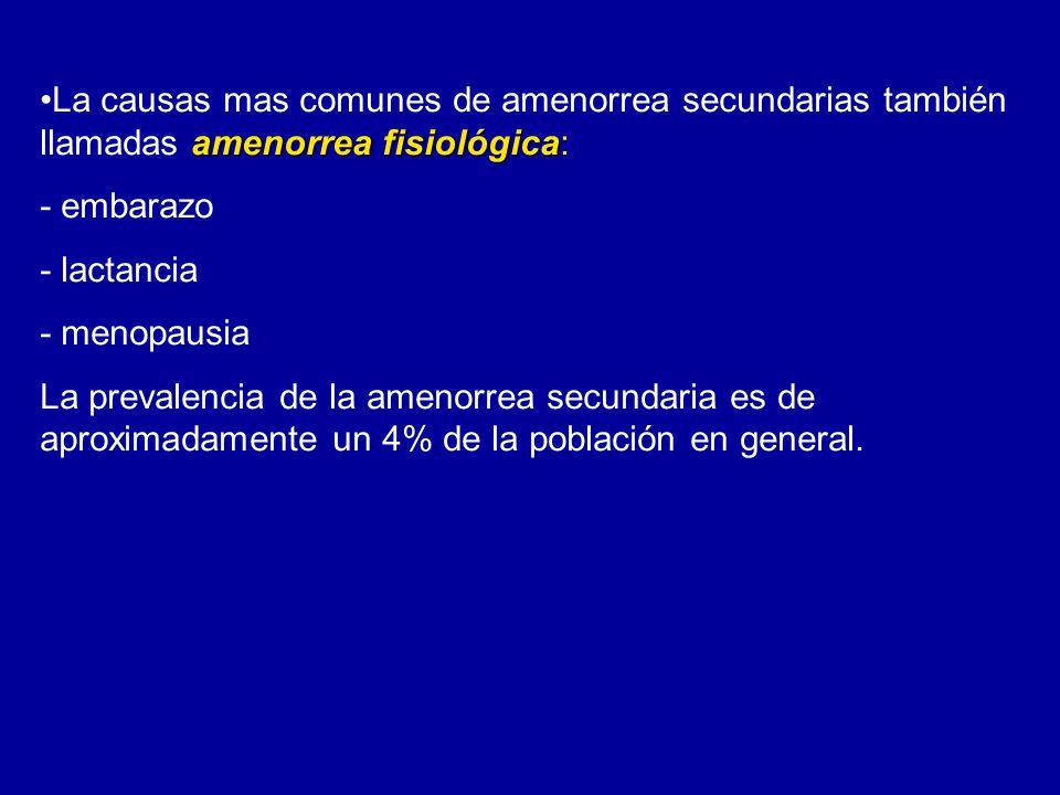 La causas mas comunes de amenorrea secundarias también llamadas amenorrea fisiológica: