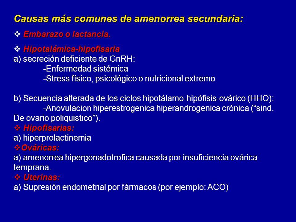 Causas más comunes de amenorrea secundaria: