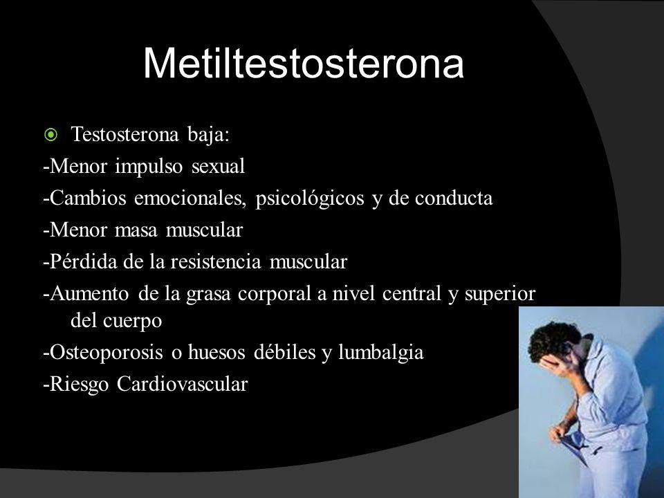 Metiltestosterona Testosterona baja: -Menor impulso sexual