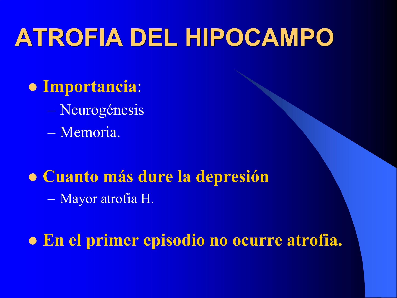 ATROFIA DEL HIPOCAMPO Importancia: Cuanto más dure la depresión