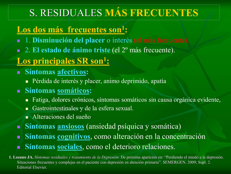 S. RESIDUALES MÁS FRECUENTES