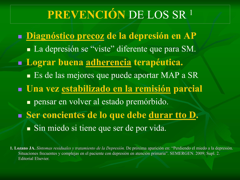 PREVENCIÓN DE LOS SR 1 Diagnóstico precoz de la depresión en AP