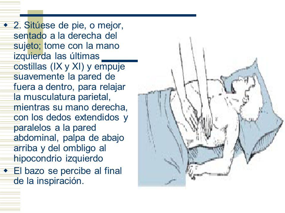 2. Sitúese de pie, o mejor, sentado a la derecha del sujeto; tome con la mano izquierda las últimas costillas (IX y XI) y empuje suavemente la pared de fuera a dentro, para relajar la musculatura parietal, mientras su mano derecha, con los dedos extendidos y paralelos a la pared abdominal, palpa de abajo arriba y del ombligo al hipocondrio izquierdo