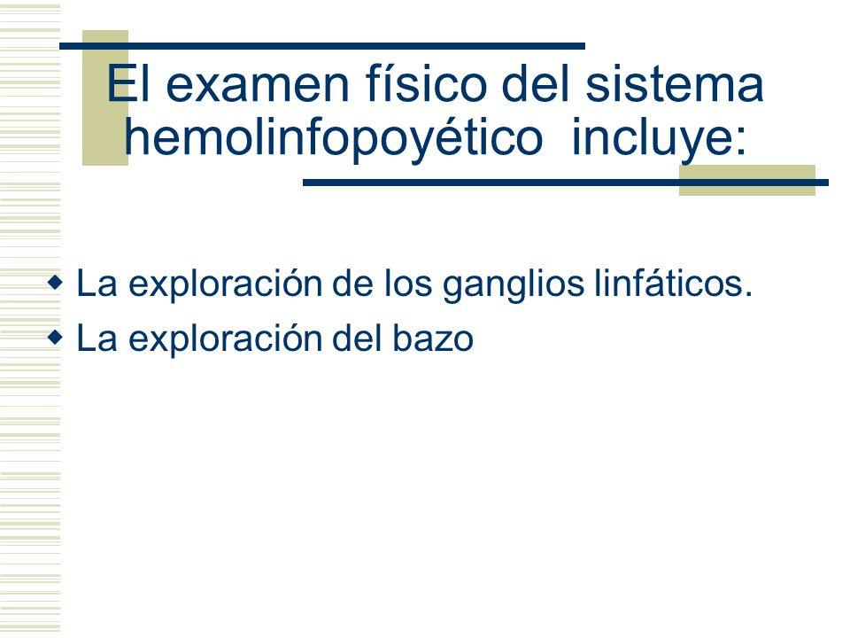 El examen físico del sistema hemolinfopoyético incluye: