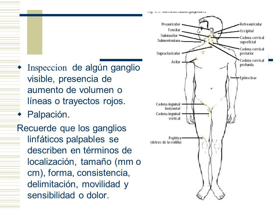 Inspeccion de algún ganglio visible, presencia de aumento de volumen o líneas o trayectos rojos.