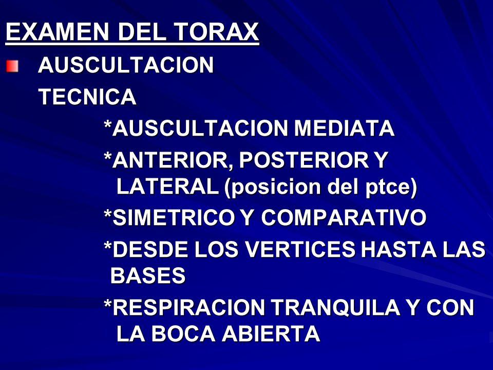 EXAMEN DEL TORAX AUSCULTACION *AUSCULTACION MEDIATA