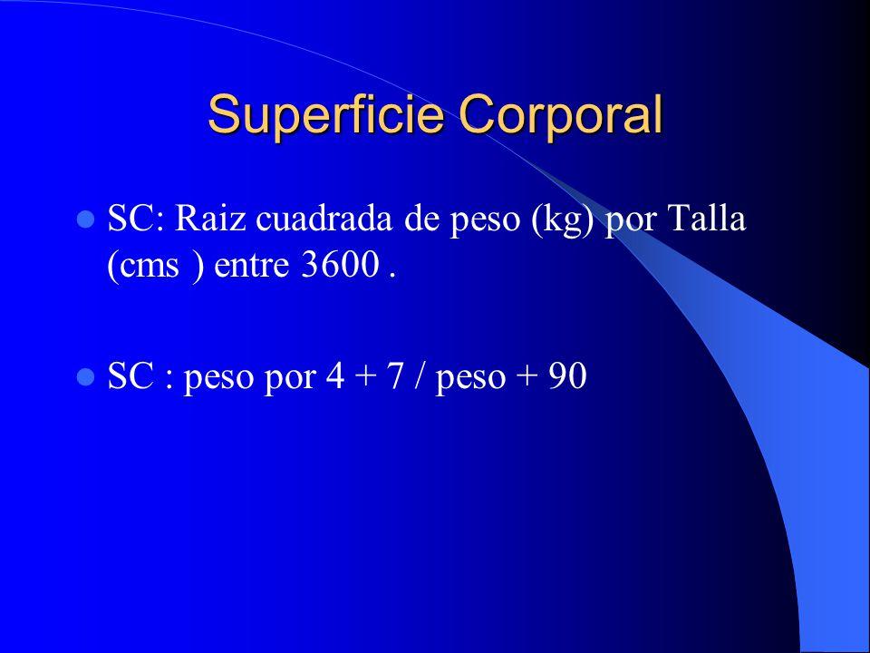 Superficie Corporal SC: Raiz cuadrada de peso (kg) por Talla (cms ) entre 3600 .