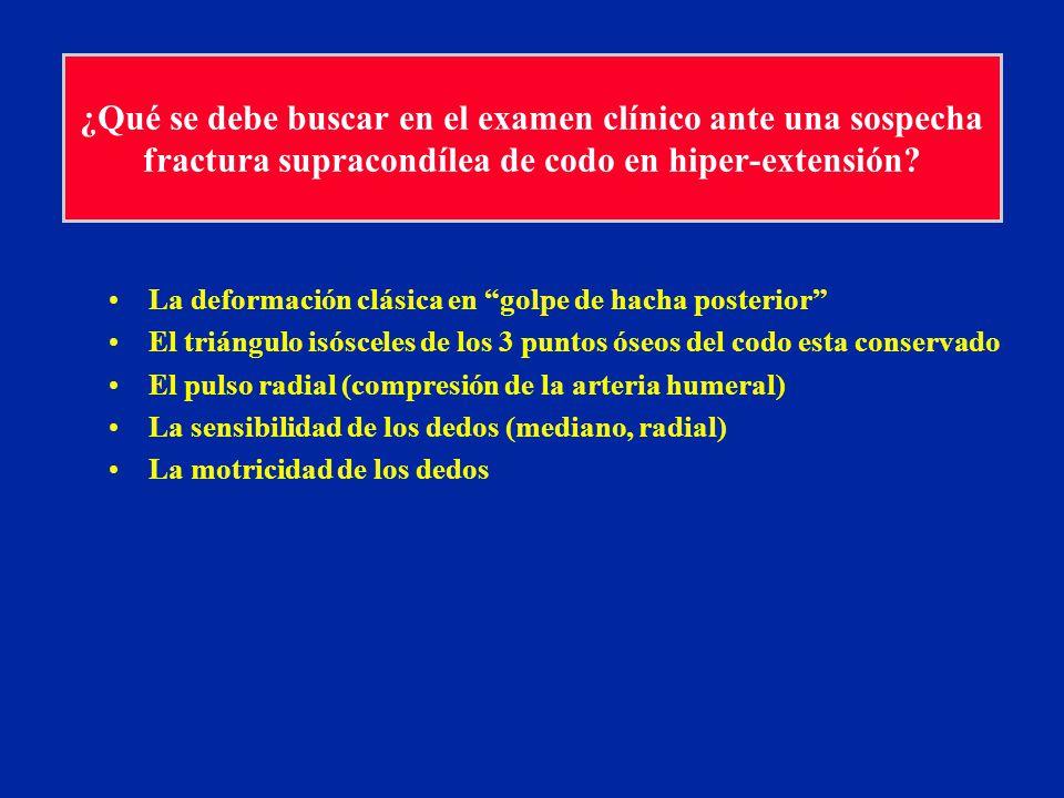 ¿Qué se debe buscar en el examen clínico ante una sospecha fractura supracondílea de codo en hiper-extensión