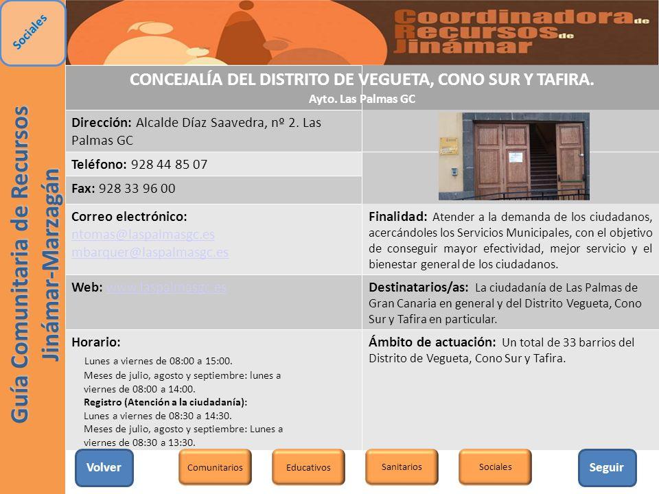 CONCEJALÍA DEL DISTRITO DE VEGUETA, CONO SUR Y TAFIRA.