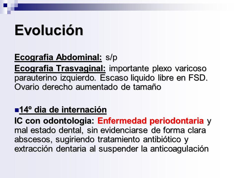 Evolución Ecografia Abdominal: s/p