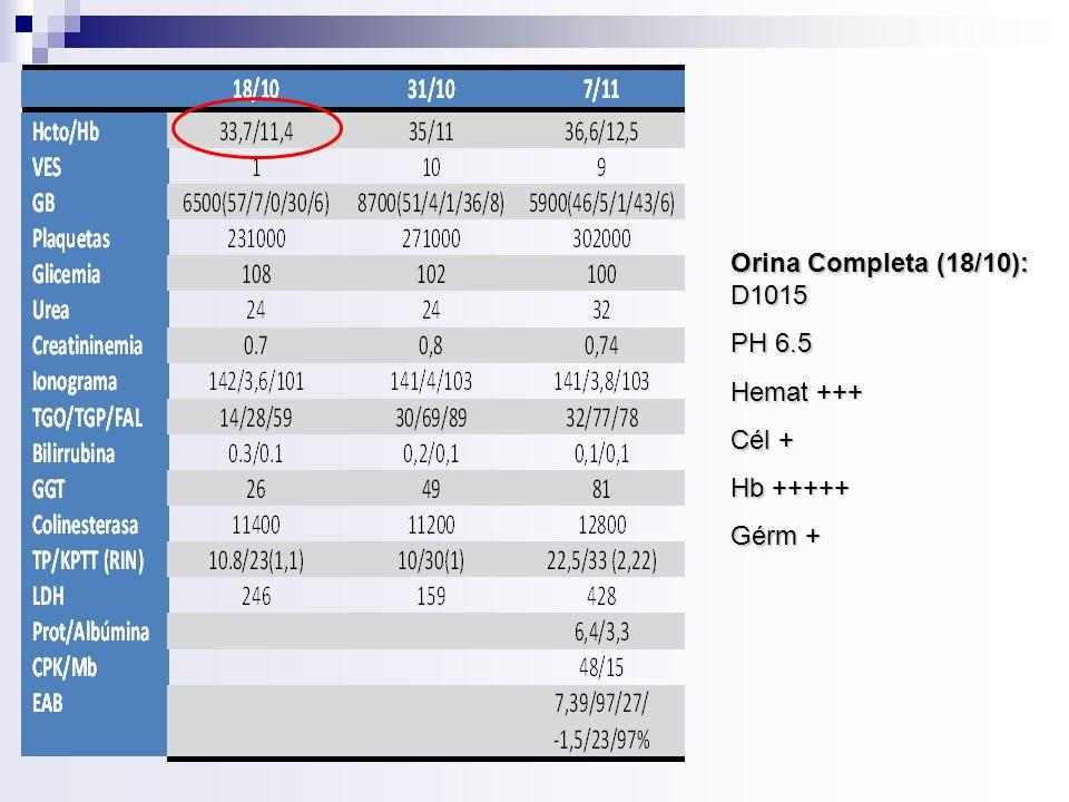 Orina Completa (18/10): D1015 PH 6.5 Hemat +++ Cél + Hb +++++ Gérm +