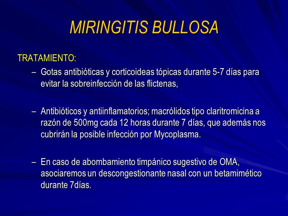 MIRINGITIS BULLOSA TRATAMIENTO: